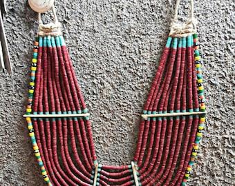 Big Maroon naga handmade  necklace tribal.
