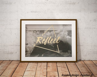 Black and white poster: Refelct - customizable - gilding - color-decoration - living room - bedroom