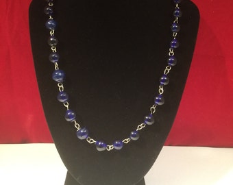 Large Vintage Blue Glass Bead Necklace