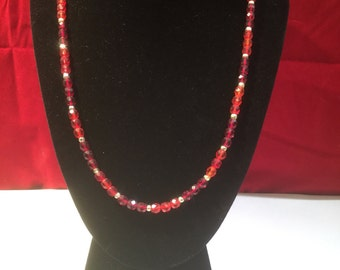 Vintage Large Two Tone Red Glass Bead Necklace