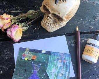 Samhain Blank Note Cards; your choice, Halloween Party Note Cards, Occult Samhain Invitation Notecards, Halloween Pagan Samhain Stationary