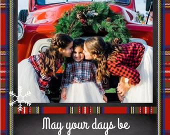Merry and Bright Plaid Chalkboard 5x7 Downloadable Holiday Christmas Photo Card