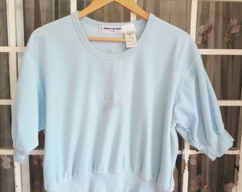 Vintage Sonia Rykiel paris short sweatshirt/lightblue/medium/made in france/fashion blogger/france designer