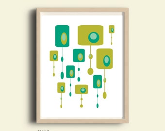 Retro poster, mid century wall art, printable, printable mid century modern, abstract print, turquoise green retro poster, green wall art