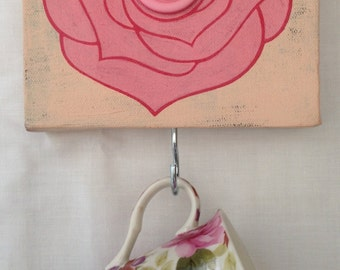 Hand painted rose canvas picture with buttons and a hook