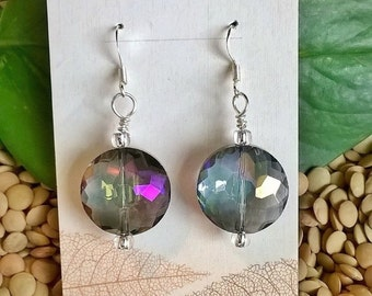 Aurora Borealis Faceted Bead Earrings, Rainbow Earrings, AB Jewelry, Statement Earrings, Purple Earrings, Summer Jewelry, Elegant