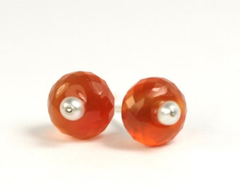 Earrings carnelian orange gemstone and bead 925 Silver unique fresh design jewelry hand made in Germany