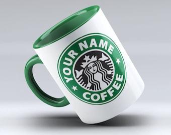 Personalized Starbucks Mug, Starbucks Coffee, Starbucks mug, Starbucks Cup, Starbucks, Starbucks Mug, Green Inside and Green Handle
