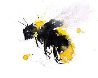 Bumblebee No.2 - Signed limited edition print of my original watercolour painting of a Bumble bee