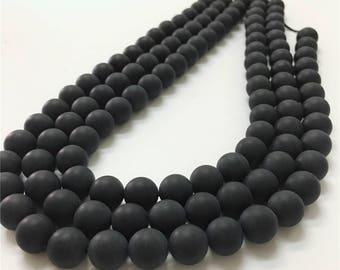 10mm Matte Black Onyx Beads, Round Gemstone Beads, Wholesale Beads