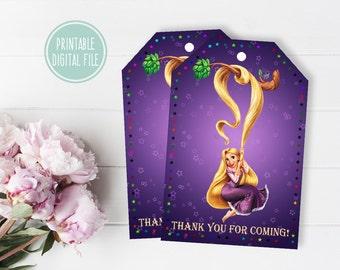 Rapunzel tags,  Rapunzel favor tag, Rapunzel thank you tags, Birthday thank you tag,Birthday favor tag, Birthday gift tag, Rapunzel birthday