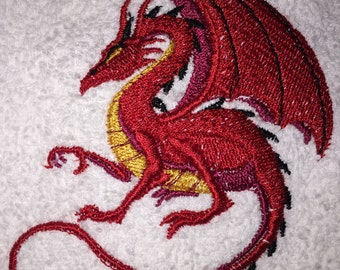 Embroidered White Hand Towel- RED DRAGON W YELLOW Belly- HS0223