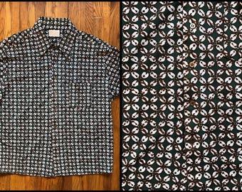 1970's Men's Dark Green Dagger Collar Short Sleeve King's Road Shirt
