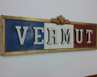 Poster sign wood VERMOUTH