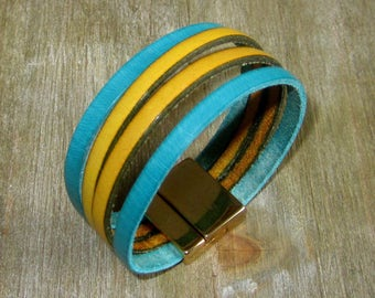Bracelet leather yellow/Turquoise, Metal loving Golden 20MM clasp