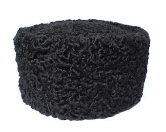 Vintage Russian Winter Hat Black Astrakhan Fur Sheep Kubanka Persian Lamb USSR Karakul