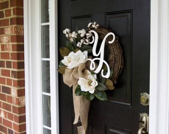 Monogram Wreath, Magnolia Wreath, Cotton Boll Wreath, Wreath with initial, Wreath with letter, Southern Wreath, Year Round Wreath