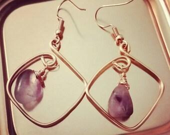 Amethyst copper hoop earrings, wire wrap amethyst and copper earrings, boho amethyst earrings, gifts for her