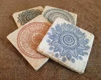 Yoga Mandalas Relaxation Meditation Tumbled Stone Tile Coaster Set, Tile Coasters, Travertine Coasters, Souvenir Coasters