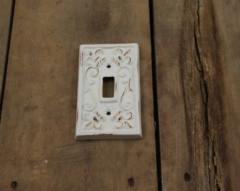 Distressed Cream White Light Switch Plate Cover