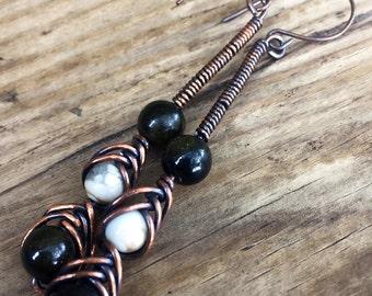 Black Stripe Howlite And Golden Sheen Obsidian Earrings