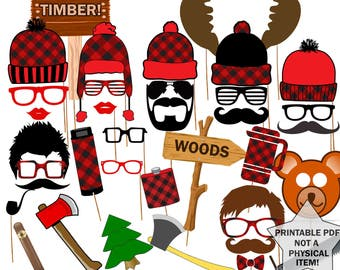 "Lumberjack Photo Booth Props: ""PARTY PHOTO BOOTH"" Lumberjack props Party supplies Printable pdf Lumberjack printable lumberjack party"
