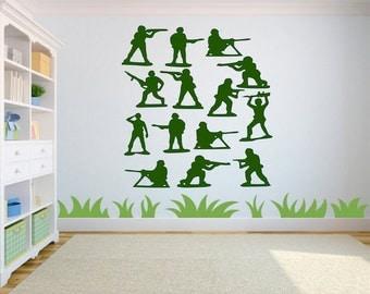 Army Men Vinyl Decal-Green Army Men-Boys Room Decor-Toy Story Sticker-Playroom-Bedroom