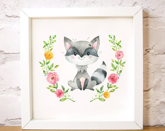 Nursery wall art Bandit the Racoon is one of the Forest Friends animal set, modern decor, add a name print, digital instant download A3 A4