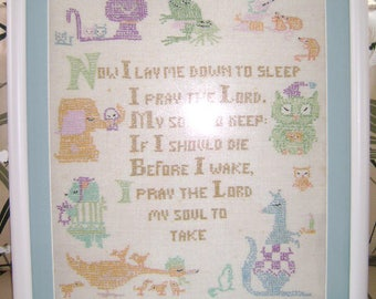 """Cross Stitch  on Linen  """"Now I Lay Me Down to Sleep"""""""