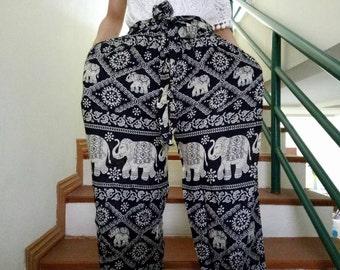 Thai elephant pants Palazzo pants Black elephant pants Fisherman pants Wide leg pants Bohochic Hippiechic pants