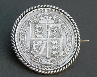 Antique Victorian Sterling Silver 1889 Victoria Shilling Coin Brooch/Pin