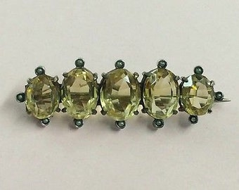 Antique Victorian Silver Gilt Citrine and Seed Pearl Brooch Pin - 1880