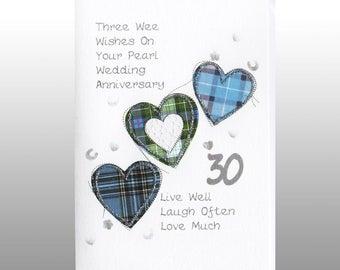 Pearl Anniversary Three Hearts Card WWWE23