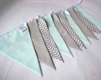 Nursery Bunting Mint Green and Grey Handmade Fabric Bunting - 10 Flags, 2 M - Mint Green, Grey and Grey Chevron Fabric