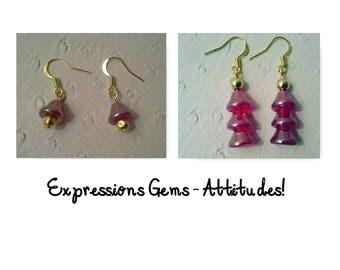 "Christmas Czech Bead ""Tree"" earrings, #Czech beads #Prague #Tree bead #gold plated"