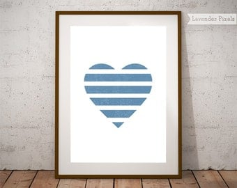 Love couple wall art Printable poster Heart print Valentines day Gift for her Geometric print Blue wall art decor Wall heart art Minimalist