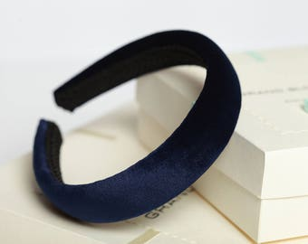 Navy blue padded headband Navy blue velvet headband Navy blue hair accessory