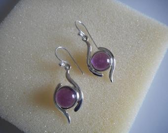 Earrings amethyst-silver earrings-purple earrings-dangle earrings-indien-gift-gift mom-925 sterling silver earrings-gemstone-Amethyst