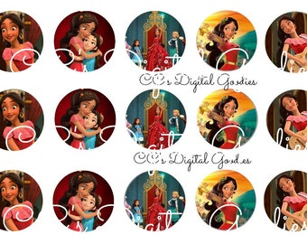 INSTANT DOWNLOAD One Inch 4x6 Bottlecap Images-Elana of Avalor-Princess-Disney 1in