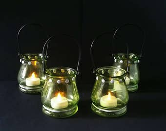 Green hanging candle holder, glass lantern, backyard party, votive candle holder, tea light lantern, garden lights, housewarming gift