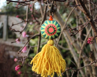Handmade keychain, bag charm, Hmong textile, ethnic keychain, colourful keychain, bag accessory