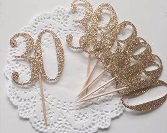 30th Birthday Cupcake Toppers - 30 - Dirty 30 - Thirtieth - Gold Glitter Number - Set of 6
