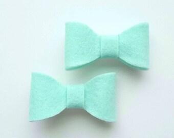 Mint green bow hair clips