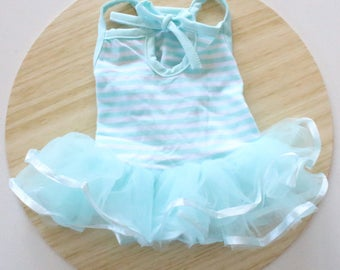 Blue stripe tulle dress / Blue tutu dress for rabbits, dogs and small pets