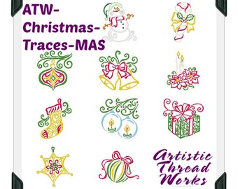 Christmas-Traces.  ( 10 Machine Embroidery Designs from ATW )