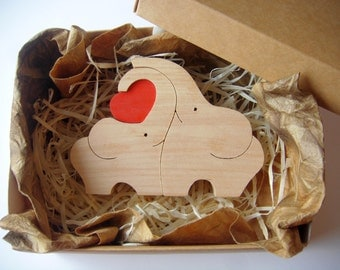 ELEPHANTS in LOVE, Elephants family, Cute Elephants, Wooden Puzzle, Wooden elephants, Romantic gift, Present for her Gift for him Kids gift