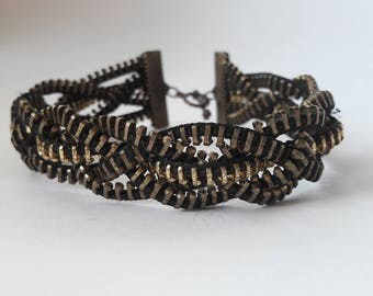 Black Zipper bracelet, Zipper jewelry, Unusual jewelry, Steampunk bracelet, Creative jewelry,  metal zippers,
