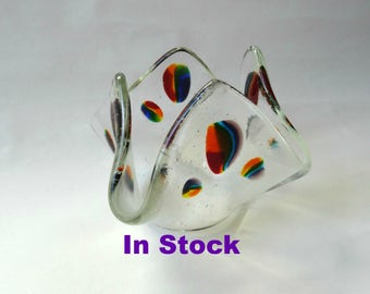 Fused glass rainbow candle holder, drape candle stand, stained glass art, gift for her, home decor, wedding gift, LGBT, Mother's Day gift