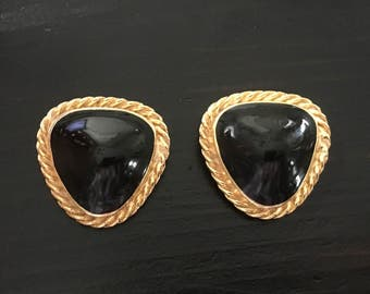 Vintage French Shoe Clips by Bluette, Black Onyx and Gold Shoe Clips, Vintage Shoe Accessories, Elegant French Shoe Clips