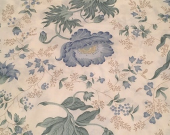 Vintage Twin Flat Blue Floral Bed Sheet Repurpose Collect